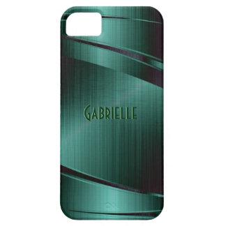 El diseño verde metálico cepilló la mirada de alum iPhone 5 coberturas
