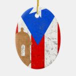 EL distessed Moro Puerto Rico .png Adorno Navideño Ovalado De Cerámica