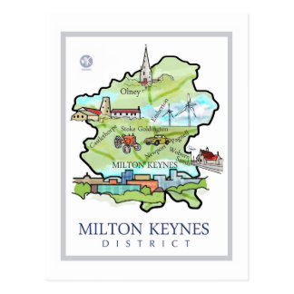 El distrito de Milton Keynes destaca la postal