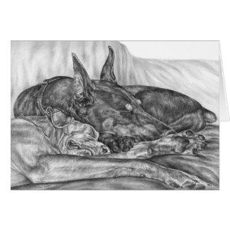 El Doberman el dormir persigue el dibujo por el Tarjeta Pequeña