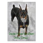 El Doberman Santa hace la mejor tarjeta de Hoiday