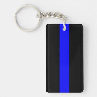 El doble azul fino de la materia de las vidas echó llavero rectangular acrílico a doble cara