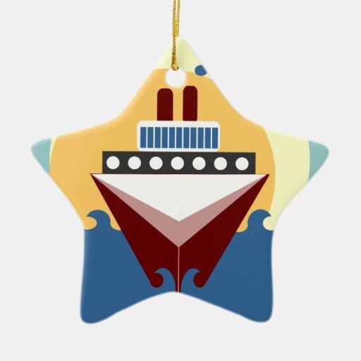 El doble de la salida del sol del barco de adorno navideño de cerámica en forma de estrella