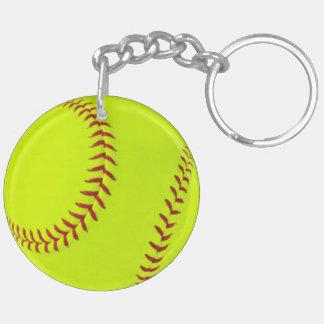 El doble del softball de los chicas echó a un lado llavero redondo acrílico a doble cara