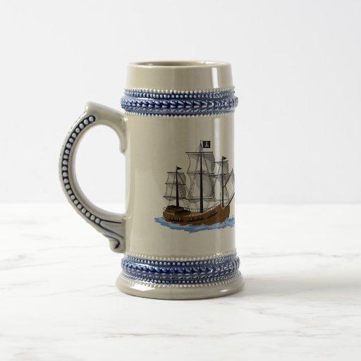 El doble echó a un lado barco pirata Stein Tazas De Café