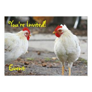 """El doble echó a un lado invitación, gallo invitación 5"""" x 7"""""""