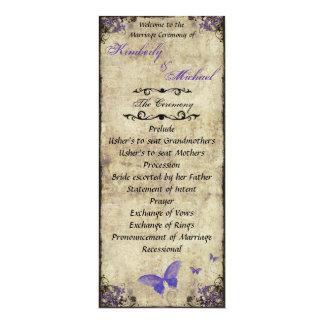 El doble echó a un lado programa púrpura del boda invitación 10,1 x 23,5 cm