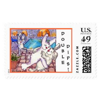 El doble sumerge franqueo del personalizado del timbre postal