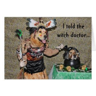 El doctor de bruja de oro cocina la cabeza tarjeta de felicitación