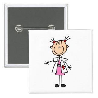 El doctor de sexo femenino Stick Figure Pin Cuadrado