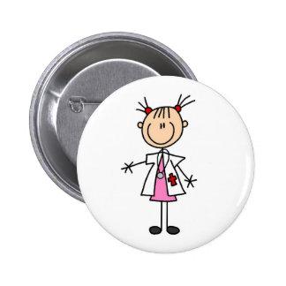 El doctor de sexo femenino Stick Figure Pin Redondo De 2 Pulgadas