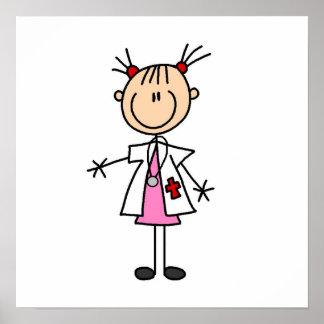 El doctor de sexo femenino Stick Figure Póster