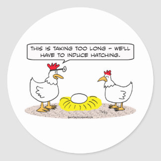 el doctor del pollo induce el huevo para incubar etiqueta redonda