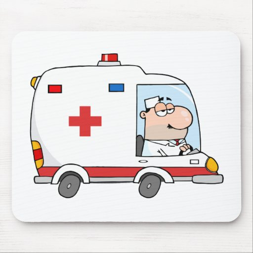 El doctor Driving Ambulance Tapete De Raton