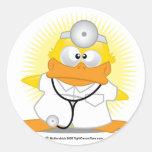 El doctor Duck Pegatinas Redondas