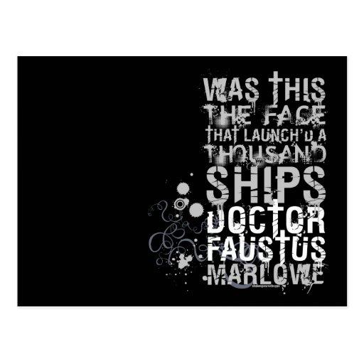 El doctor Faustus Quote (B&W) Postal