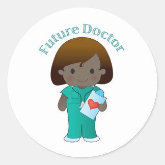 El doctor futuro Girl Pegatina Redonda