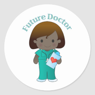 El doctor futuro Girl Pegatinas Redondas
