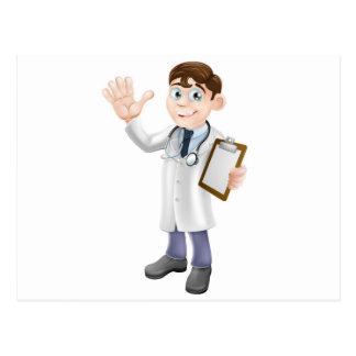 El doctor Holding Clipboard del dibujo animado Postales