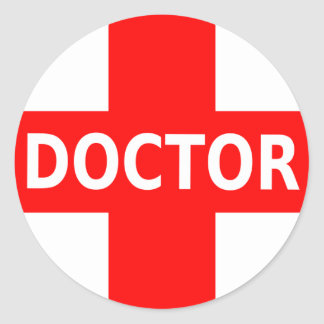El doctor Logo Pegatina Redonda