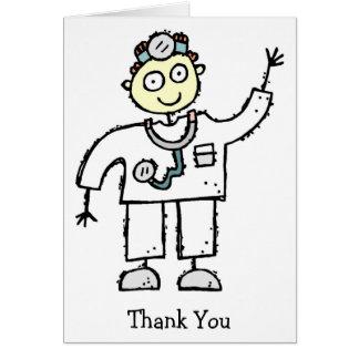 El doctor Male Thank You Cards Tarjeta Pequeña