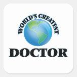 El doctor más grande del mundo calcomanías cuadradass