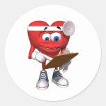 El doctor médico Cute del corazón Pegatina Redonda
