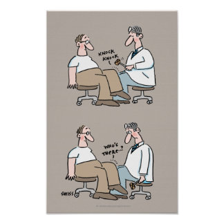 El doctor médico divertido Checks Reflexes del Póster