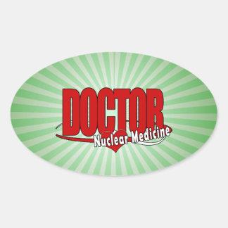 EL DOCTOR NUCLEAR MEDICINE DEL LOGOTIPO PEGATINA OVALADA