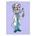 El doctor Nurse Mouse Tarjeta Pequeña