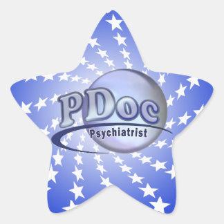 El DOCTOR OF PSYCHIATRY PSYCHIATRIST LOGO de PDoc Pegatina En Forma De Estrella
