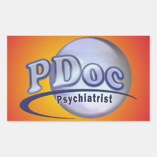 El DOCTOR OF PSYCHIATRY PSYCHIATRIST LOGO de PDoc Pegatina Rectangular