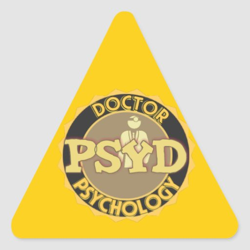 El DOCTOR OF PSYCHOLOGY PSYCHOLOGIST del LOGOTIPO Pegatina Triangular