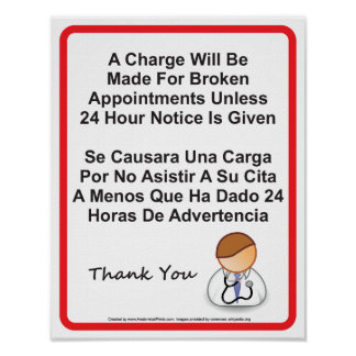 El doctor Office Missed Appointment Sign Posters