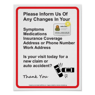 El doctor Patient Information Wall Sign #1 Póster