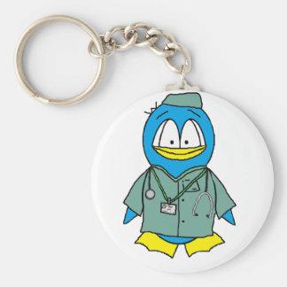 El doctor Penguin Llavero Redondo Tipo Pin