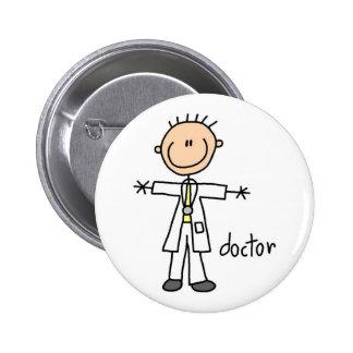 El doctor Stick Figure Button Pin