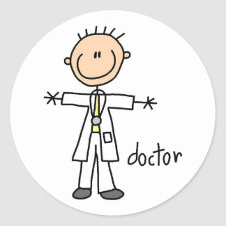 El doctor Stick Figure Sticker Pegatina Redonda
