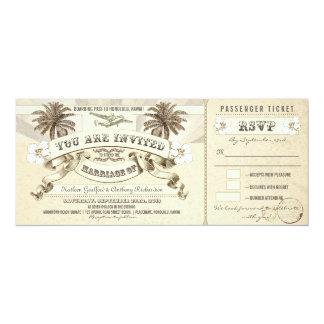 """el documento de embarque del boda marca invitación 4"""" x 9.25"""""""