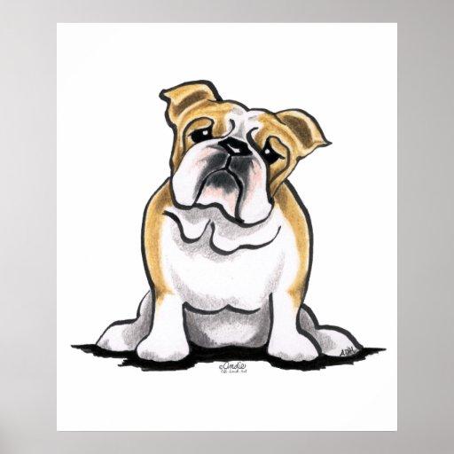 El dogo blanco del cervatillo sienta bonito póster