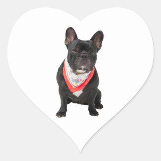 El dogo francés persigue la foto hermosa linda r calcomanía de corazón