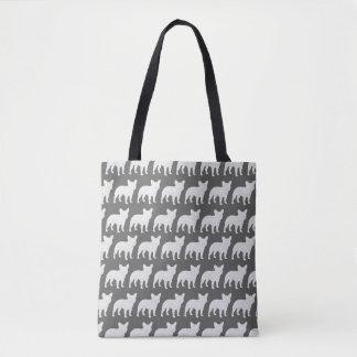 El dogo francés siluetea el modelo bolsa de tela