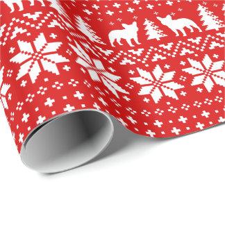 El dogo francés siluetea rojo del modelo del papel de regalo