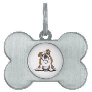 El dogo inglés blanco de Brown n sienta bonito Placas De Nombre De Mascota