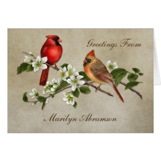 El Dogwood cardinal hembra-varón florece las Tarjeta Pequeña