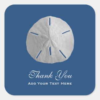 El dólar de arena en azul marino le agradece pegatina cuadrada