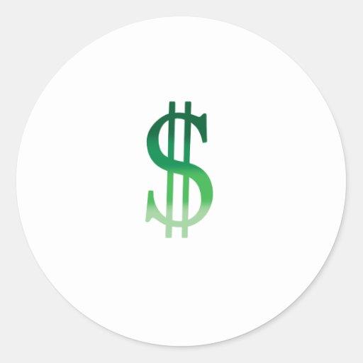 El dólar firma adentro color pegatinas redondas
