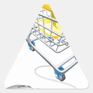 El dólar firma adentro el carro de la compra y el pegatina triangular
