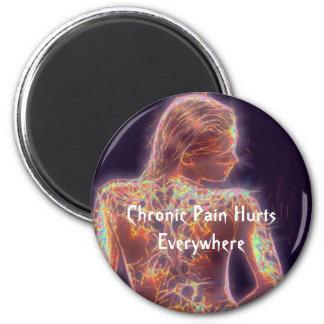 El dolor crónico daña por todas partes imán redondo 5 cm