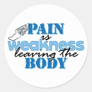 El dolor es debilidad que sale del cuerpo - pista pegatina redonda